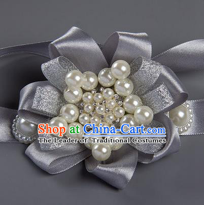 Top Grade Classical Wedding Pearl Grey Ribbon Bangle, Bride Emulational Wrist Flowers Bridesmaid Bracelet Flowers for Women