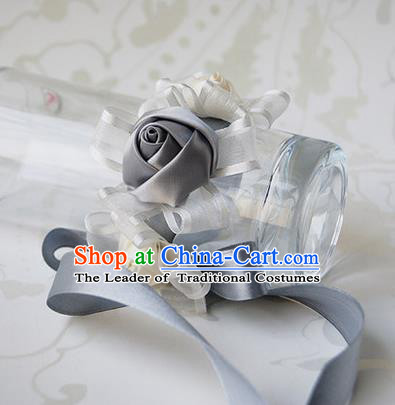 Top Grade Classical Wedding Grey Ribbon Silk Flowers, Bride Emulational Wrist Flowers Bridesmaid Bracelet Flowers for Women