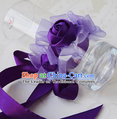 Top Grade Classical Wedding Ribbon Deep Purple Silk Flowers, Bride Emulational Wrist Flowers Bridesmaid Bracelet Flowers for Women