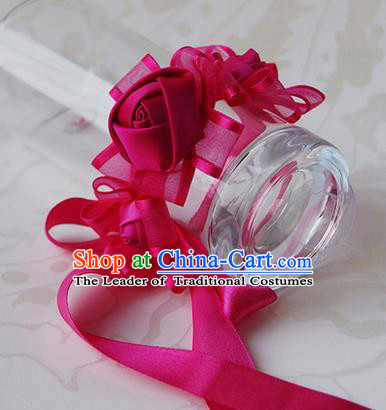 Top Grade Classical Wedding Ribbon Rosy Silk Flowers, Bride Emulational Wrist Flowers Bridesmaid Bracelet Flowers for Women