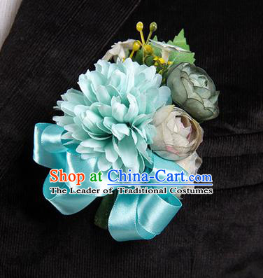 Top Grade Classical Wedding Blue Ribbon Silk Flowers,Groom Emulational Corsage Groomsman Brooch Flowers for Men