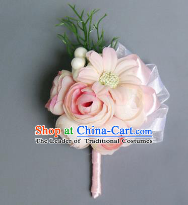 Top Grade Classical Wedding Beige Silk Flowers,Groom Emulational Corsage Brooch Flowers for Men