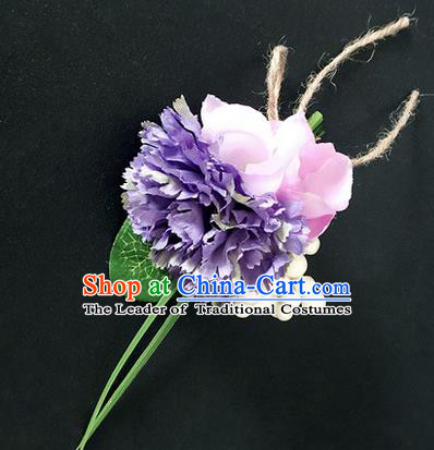 Top Grade Classical Wedding Silk Flowers,Emulational Corsage Bride Purple Brooch Flowers for Women