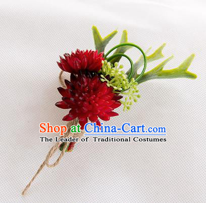 Top Grade Classical Wedding Succulents Flowers,Groom Emulational Corsage Groomsman Wine Red Brooch Flowers for Men