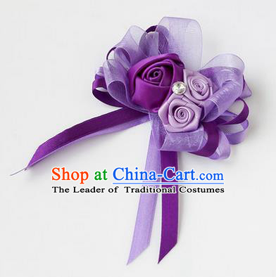 Top Grade Classical Wedding Ribbon Flowers, Bride Emulational Corsage Bridesmaid Purple Bowknot Brooch Flowers for Women