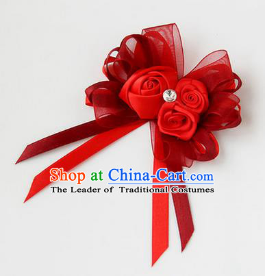 Top Grade Classical Wedding Ribbon Flowers, Bride Emulational Corsage Bridesmaid Red Bowknot Brooch Flowers for Women