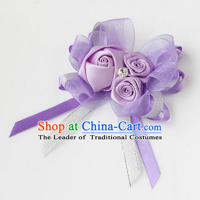 Top Grade Classical Wedding Ribbon Flowers, Bride Emulational Corsage Bridesmaid Lilac Bowknot Brooch Flowers for Women