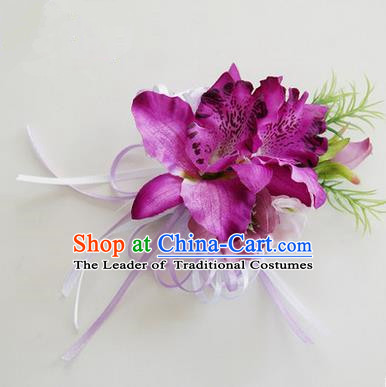 Top Grade Classical Wedding Purple Flowers, Bride Emulational Corsage Bridesmaid Brooch Flowers for Women