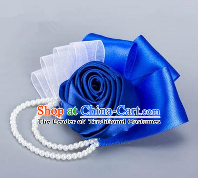 Top Grade Classical Wedding Royalblue Ribbon Flowers, Bride Emulational Crystal Wrist Flowers Bridesmaid Beads Bracelet Flowers for Women