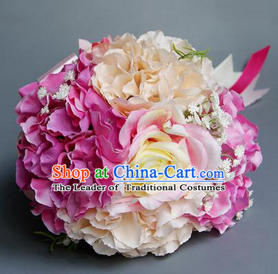 Top Grade Classical Wedding Silk Flowers, Bride Holding Emulational Pink Flowers, Hand Tied Bouquet Flowers for Women