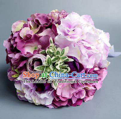 Top Grade Classical Wedding Silk Flowers, Bride Holding Emulational Purple Flowers, Hand Tied Bouquet Flowers for Women