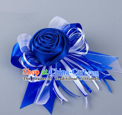 Top Grade Classical Wedding Royalblue Silk Rose Flowers, Bride Emulational Corsage Bridesmaid Bowknot Ribbon Brooch Flowers for Women