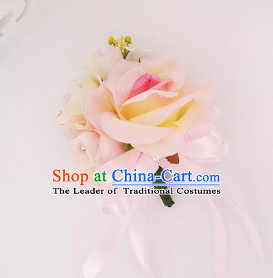 Top Grade Classical Wedding Pink Silk Flowers, Bride Emulational Corsage Bridesmaid Brooch Rose Flowers for Women