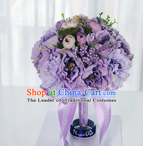 Top Grade Classical Wedding Purple Silk Flowers, Bride Holding Emulational Flowers Ball, Hand Tied Bouquet Flowers for Women