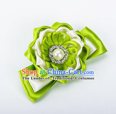 Top Grade Classical Wedding Green Ribbon Silk Bangle Flowers, Bride Emulational Wrist Flowers Bridesmaid Bracelet Pearl Flowers for Women