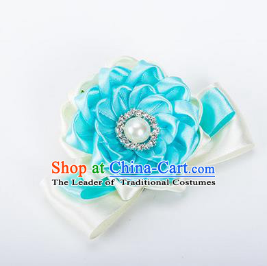 Top Grade Classical Wedding Blue Ribbon Silk Bangle Flowers, Bride Emulational Wrist Flowers Bridesmaid Bracelet Pearl Flowers for Women
