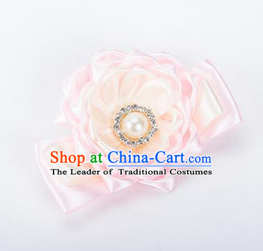 Top Grade Classical Wedding Light Pink Ribbon Silk Bangle Flowers, Bride Emulational Wrist Flowers Bridesmaid Bracelet Pearl Flowers for Women