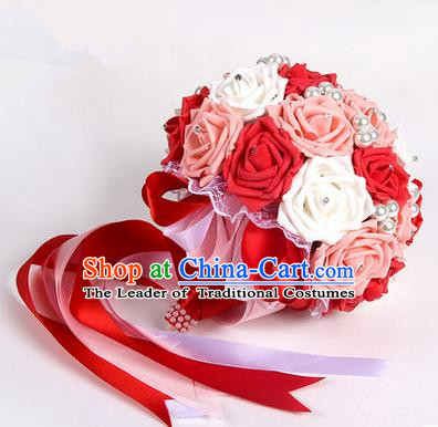 Top Grade Classical Wedding Pink and Red Silk Rose Flowers, Bride Holding Emulational Flowers, Hand Tied Bouquet Pearl Flowers for Women