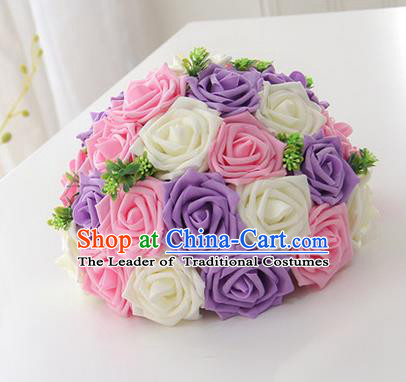 Top Grade Classical Wedding Purple and Pink Flowers, Bride Holding Emulational Flowers, Hand Tied Bouquet Flowers for Women