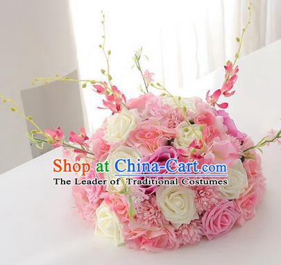 Top Grade Classical Wedding White and Pink Flowers, Bride Holding Emulational Flowers, Hand Tied Bouquet Flowers for Women