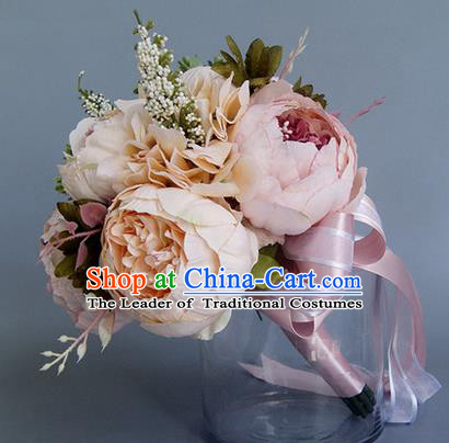 Top Grade Classical Wedding Pink Flowers, Bride Holding Emulational Flowers, Hand Tied Bouquet Flowers for Women