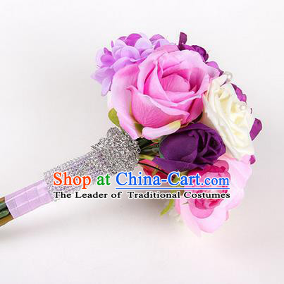 Top Grade Classical Wedding Silk Rosy Flowers, Bride Holding Emulational Flowers, Hand Tied Bouquet Flowers for Women