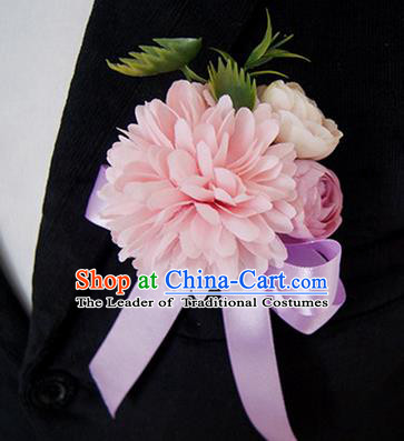 Top Grade Classical Wedding Silk Flowers,Groom Emulational Corsage Groomsman Pink Ribbon Brooch Flowers for Men