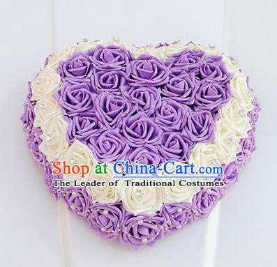 Top Grade Wedding Accessories Crystal Decoration, China Style Wedding Heart-shaped Car Ornament White and Purple Flowers Garland