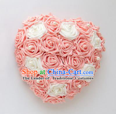 Top Grade Wedding Accessories Crystal Decoration, China Style Wedding Heart-shaped Car Ornament White and Pink Flowers Garland