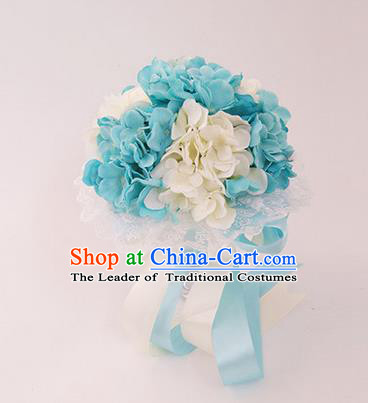 Top Grade Classical Wedding Silk Flowers, Bride Holding Emulational White and Blue Flowers Ball, Hand Tied Bouquet Flowers for Women