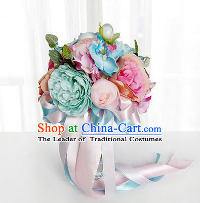 Top Grade Classical Wedding Extravagant Silk Flowers, Bride Holding Flowers Ball, Hand Tied Bouquet Flowers for Women