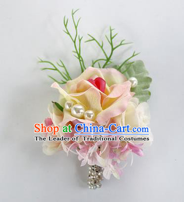 Top Grade Classical Wedding Pink Flower Brooch, Bride Emulational Corsage Bridesmaid Brooch Flowers for Women