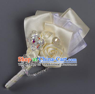 Top Grade Classical Wedding Beige Ribbon Corsage Brooch, Groom Emulational Corsage Groomsman Brooch Flowers for Men