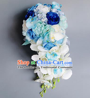 Top Grade Classical Wedding Silk Phalaenopsis Flowers Ball, Bride Holding Emulational Flowers Ball, Hand Tied Bouquet Flowers for Women