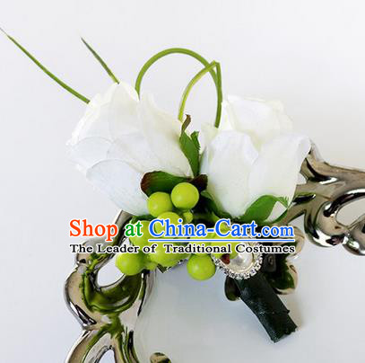 Top Grade Classical Wedding White Roses Corsage Brooch, Groom Emulational Corsage Groomsman Brooch Flowers for Men