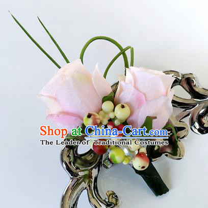 Top Grade Classical Wedding Pink Roses Corsage Brooch, Groom Emulational Corsage Groomsman Brooch Flowers for Men