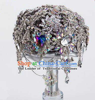 Top Grade Classical China Wedding Extravagant CZ Diamond Flowers Nosegay, Bride Holding Emulational Crystal Flowers Ball, Tassel Hand Tied Bouquet Flowers for Women