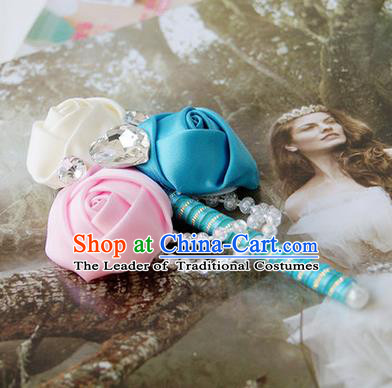 Top Grade Classical Wedding Pink and Blue White Ribbon Flowers Brooch,Groom Emulational Corsage Groomsman Crystal Brooch Flowers for Men