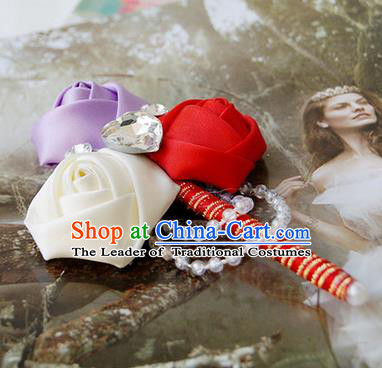 Top Grade Classical Wedding Purple and White Red Ribbon Flowers Brooch,Groom Emulational Corsage Groomsman Crystal Brooch Flowers for Men