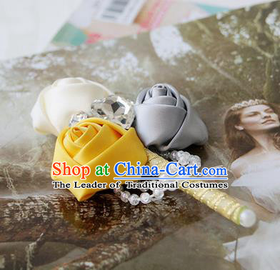 Top Grade Classical Wedding Grey and White Yellow Ribbon Flowers Brooch,Groom Emulational Corsage Groomsman Crystal Brooch Flowers for Men