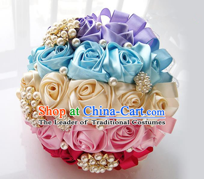 Top Grade Classical Wedding Ice Cream Color Corsage Brooch, Bride Emulational Corsage Bridemaid Brooch Flowers for Women