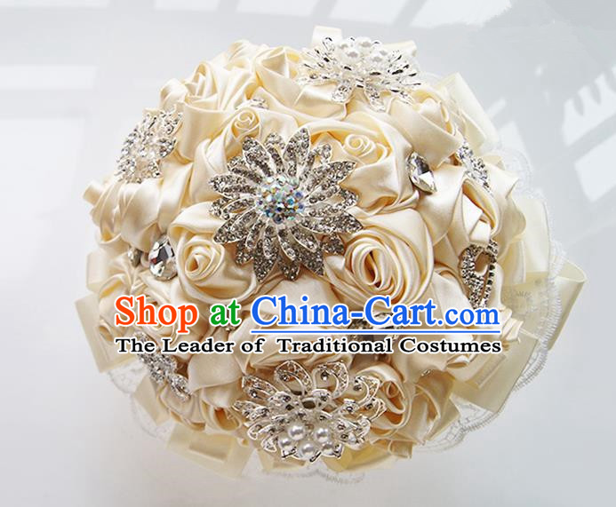Top Grade Classical Wedding Beige Ribbon Corsage Brooch, Bride Emulational Corsage Bridemaid Brooch Flowers for Women