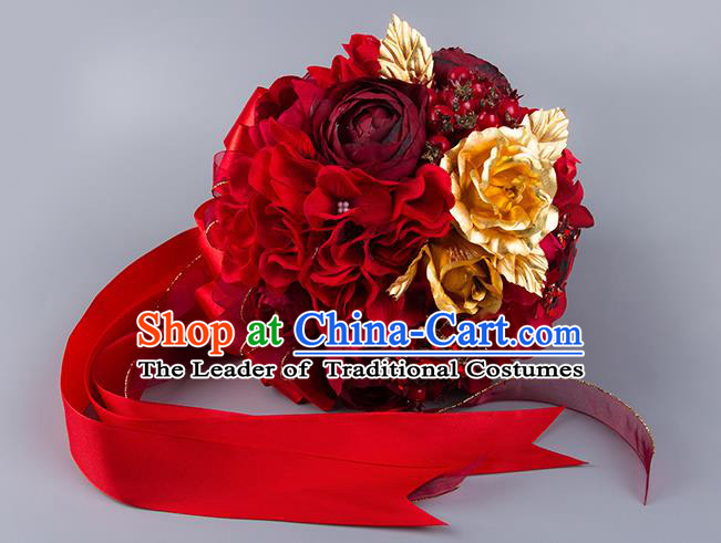 Top Grade Classical China Wedding Extravagant Red Ribbon Flowers Nosegay, Bride Holding Luxury Crystal Flowers Ball Hand Tied Bouquet Flowers for Women
