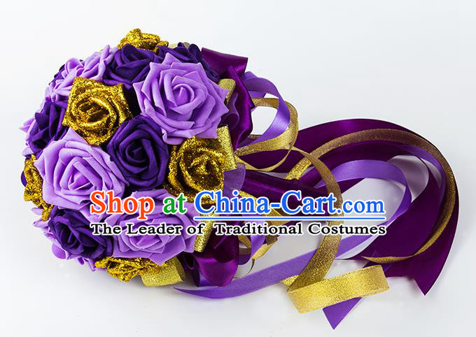 Top Grade Classical Wedding Bride Purple Rose Flowers Holding Emulational Flowers Ball, Hand Tied Bouquet Flowers for Women