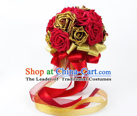 Top Grade Classical Wedding Bride Red Rose Flowers Holding Emulational Flowers Ball, Hand Tied Bouquet Flowers for Women