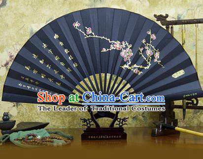 Traditional Chinese Crafts Ebonize Folding Fan, China Sensu Landscape Painting Plum Blossom Silk Fan Hanfu Fans for Men