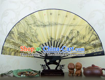 Traditional Chinese Crafts Ebonize Folding Fan, China Sensu Landscape Ink Painting Silk Fan Hanfu Fans for Men