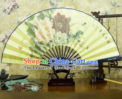 Traditional Chinese Crafts Ebonize Folding Fan, China Sensu Ink Painting Peony Silk Fan Hanfu Fans for Men