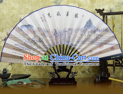 Traditional Chinese Crafts Ebonize Folding Fan, China Sensu Ink Painting Autumnal Scenery Silk Fan Hanfu Fans for Men
