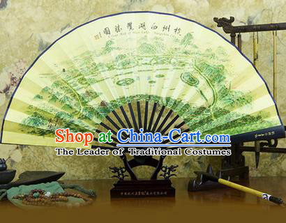Traditional Chinese Crafts Ebonize Folding Fan, China Sensu Ink Painting Hangzhou Scenery Silk Fan Hanfu Fans for Men